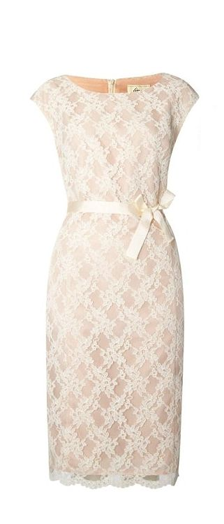 Perfect classy rehearsal dinner dress - Ivory House of Fraser | Linea Lace Shift Dress - love the ribbon bow tied at the front