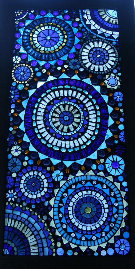 beautiful blue circles mosaic window panel by lowlightcreations - Mosaic Design Ideas