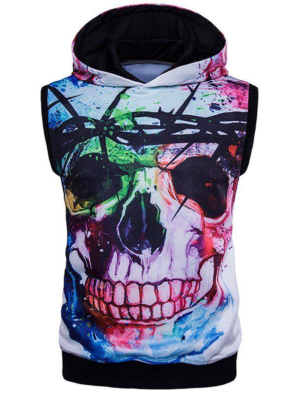 Splatter Paint 3D Skull Print Sleeveless Hoodie #men, #hats, #watches, #belts, #fashion, #style