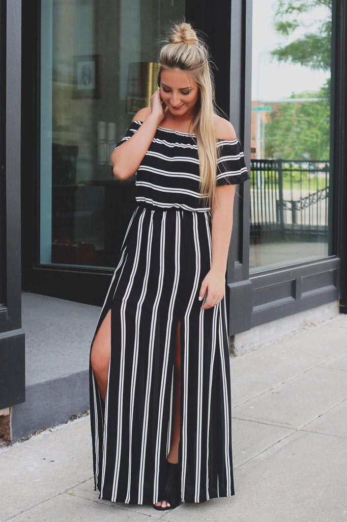 Striped Off the Shoulder Elastic Waist Maxi Dress