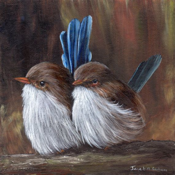 Bird Painting Art Baby Wrens SFA Australian by ArtDownUnder