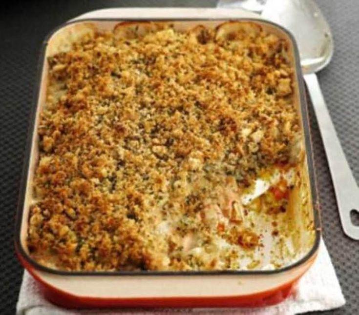 Tasty White Fish Crumble Casserole #Casserole #fish casserole #casserole recipe #tasty food #white fish casserole #justapinchrecipes