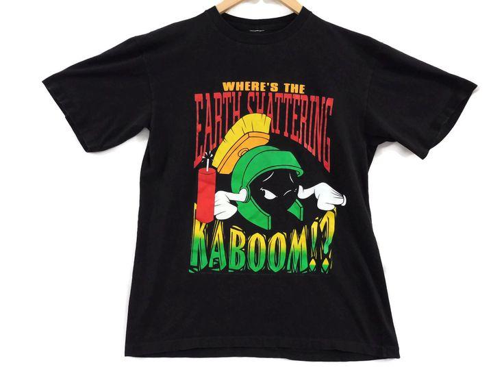 VTG 1993 Marvin the Martian Looney Tunes T-Shirt - Medium - Faded - Cartoon Tee - TV Show Shirt - Bugs - Vintage Tee - Vintage Clothing - by BLACKMAGIKA on Etsy