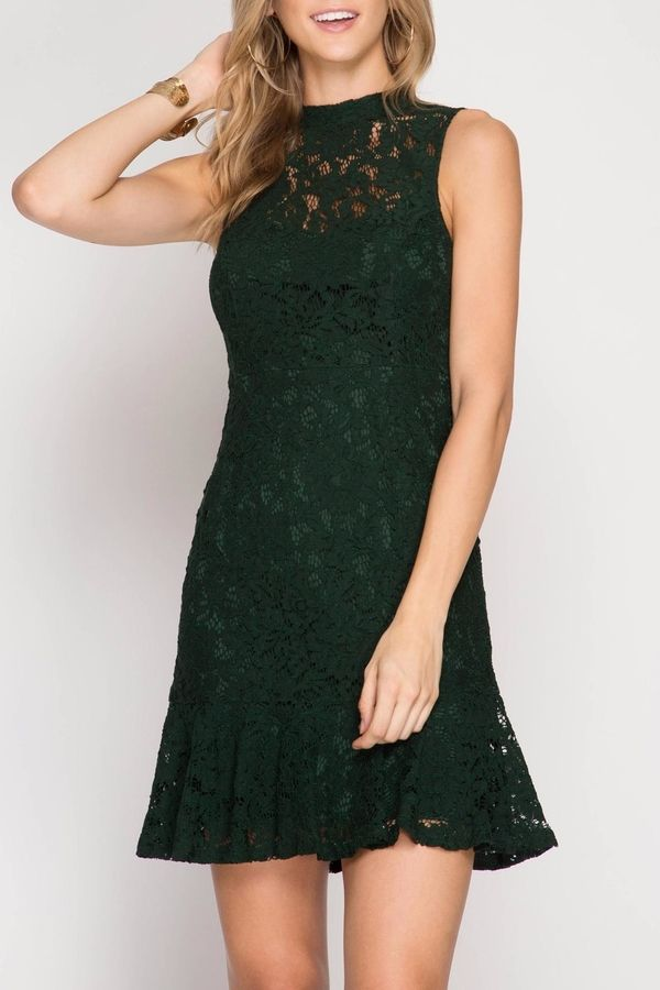Apricot Lane Out To Sea - Green Lace Cocktail Dress #ad