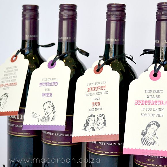 Retro Wine Tags - tie on to bottles of wine when headed out for dinner or giving them as a gift, they are sure to be a talking point at any party! http://www.macaroon.co/macaroon/content/en/macaroon/gifts-gift-tags?oid=22258&sn=Detail&pid=920&Retro-Wine-Tag-Set