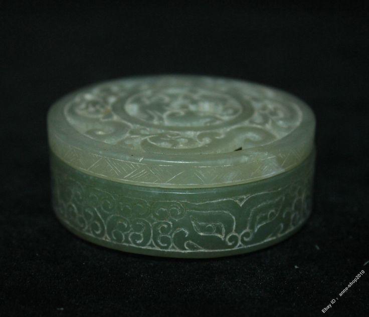 5.5cm Chinese Old Hetian Jade Jadeite Hand-carved Dragon Phoenix Beast Box Boxes | eBay