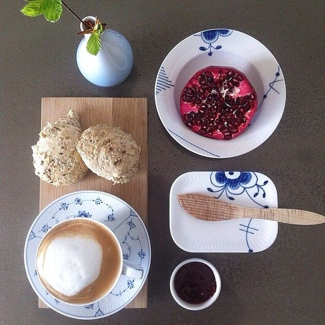 @Eva Andsbjerg 's delicious breakfast #RoyalCopenhagen #BlueFlutedMega #BlueFluted