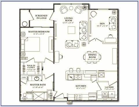 Sarasota Fl 2 Bedroom Senior Apartment Floor Plan At Villa