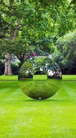 ~~The Torus, garden sculpture by David Harber -  polished stainless steel that looks like glass!!~~