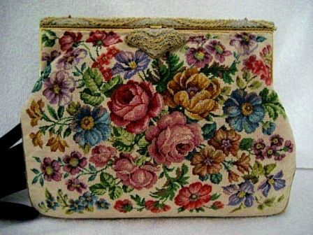 Vintage 1940 petit point evening purse with lavender roses on a French beaded frame