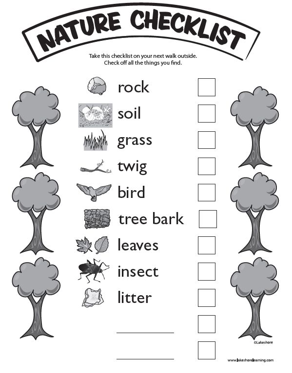 Nature Checklist at Lakeshore Learning: Take the kids on a nature walk—and bring this list to track your discoveries!