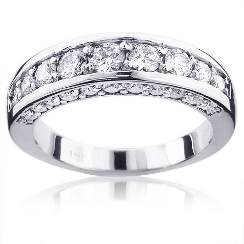 14K Gold Round Diamond Ladies Wedding Ring 1.3ct