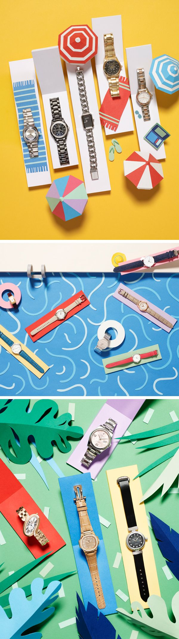 Set design by Hattie Newman for Grazia Magazine  What can't I say about this design? It is so fun and creative! The way they displayed the watches as beach goers in such a colorful setting is just lovely and adorable.
