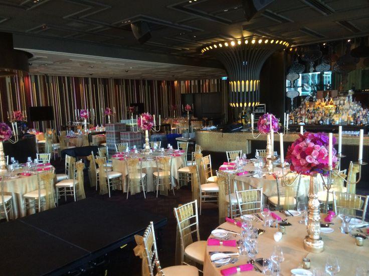 Centrepiece   Gold candelabra with fresh floral     Gold theme    Wedding reception     Wedding styling     Wedding decor