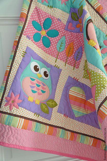"Детское одеяло ""Совушки"" (для девочки) - розовое,девочке,подарок девочке"