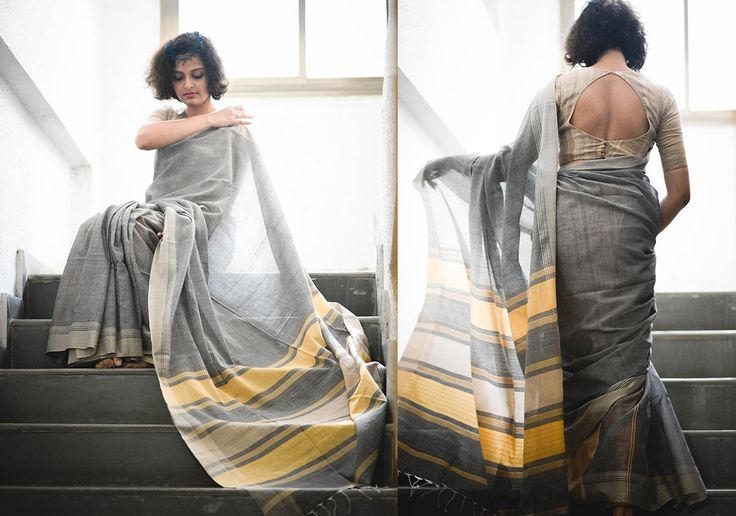Cotton Sarees - Handloom Grey And Beige By Suta - PC - 15631 - 2