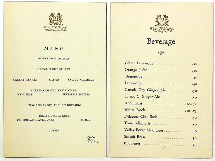 1930 vintage original menu  drinks beverage cards willard