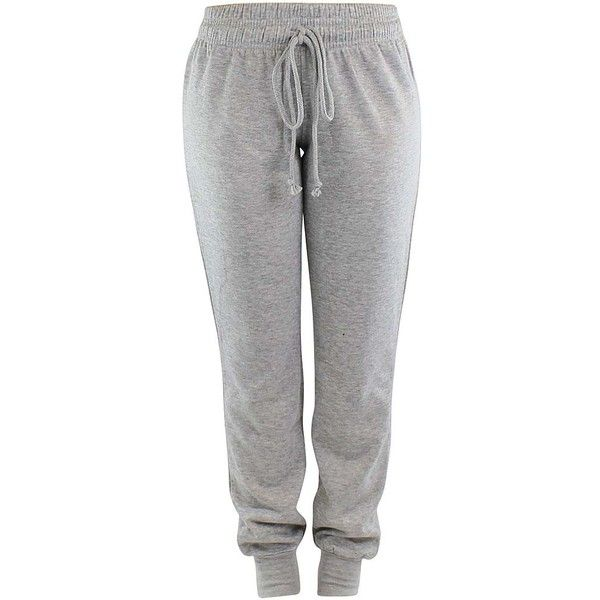 Gray Drawstring Ladies Jogger Exercise Sweatpants ($20) ❤ liked on Polyvore featuring activewear, activewear pants, pants, bottoms, grey, grey jogger sweatpants, cropped sweat pants, grey sweat pants, jogger sweatpants and slouchy sweatpants