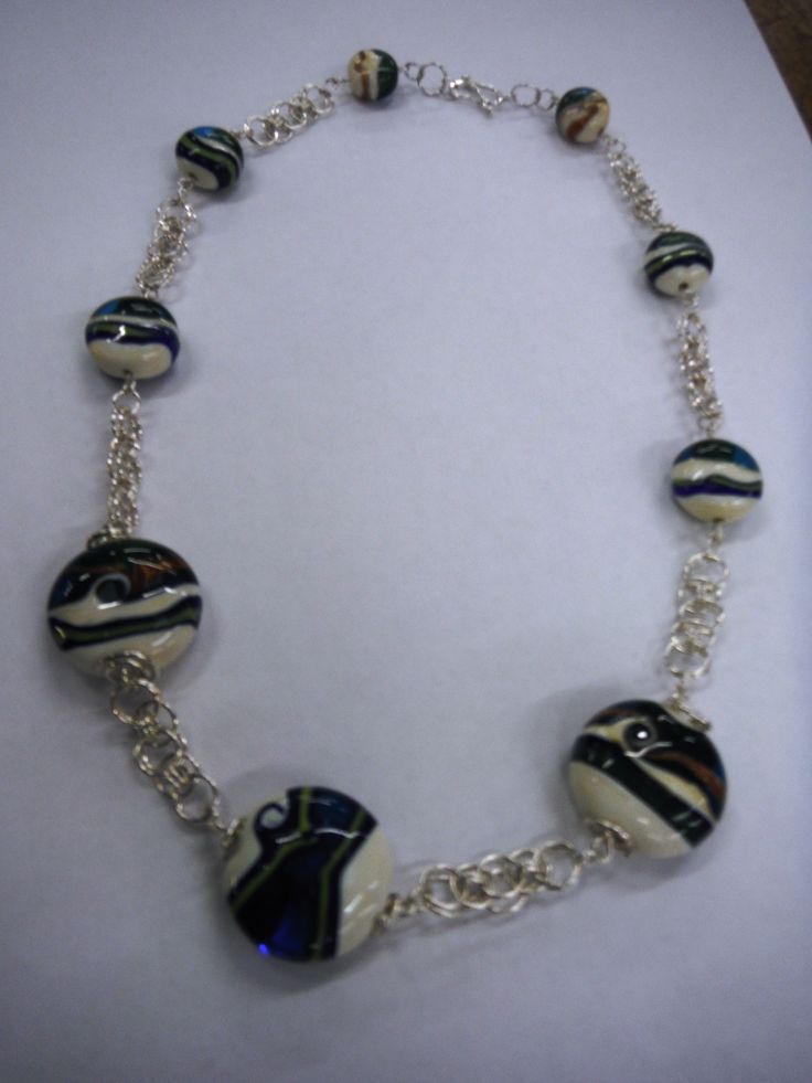 Chain and hand made glass beads by Hilary Goodwin