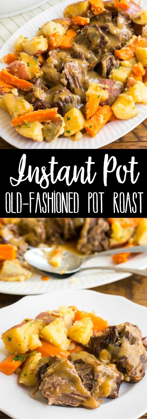 Instant Pot Old-Fashioned Pot Roast with Gravy & Vegetables is the best pot roast I've ever made. This easy, one-pot dinner is a family favorite! via @breadboozebacon
