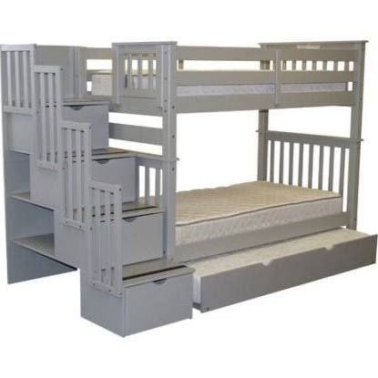 Bedz King Tall Twin Over Twin Bunk Bed with Trundle