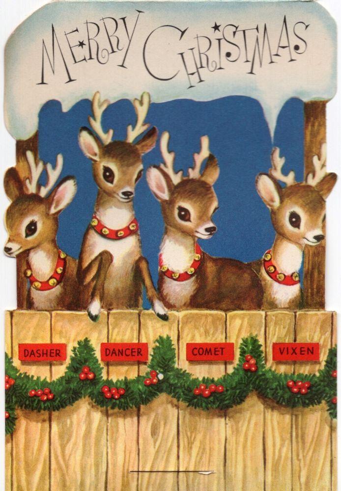Santa\u0027s Reindeer Deer Snow Covered Stable Stand,up VTG