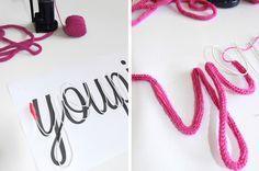 Un autre tuto pour faire un mot en tricotin en suivant un modèle imprimé