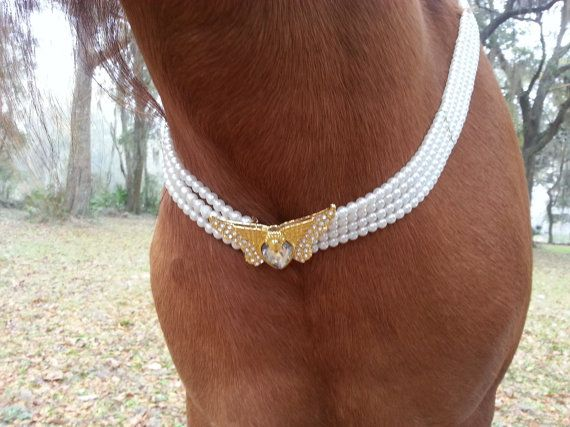 Equine Pearl and Golden Butterfly Necklace - Equine Bridal Costume - Costume for Horse Bride, Equine Costume