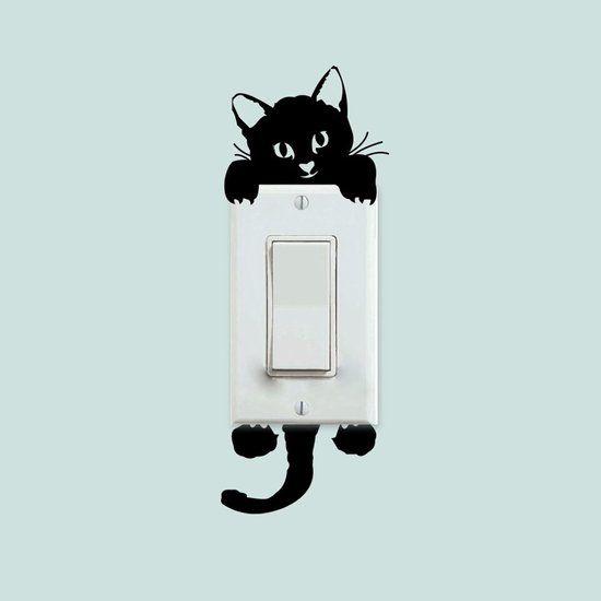 Muursticker - Lichtschakelaar - Poes - Kat