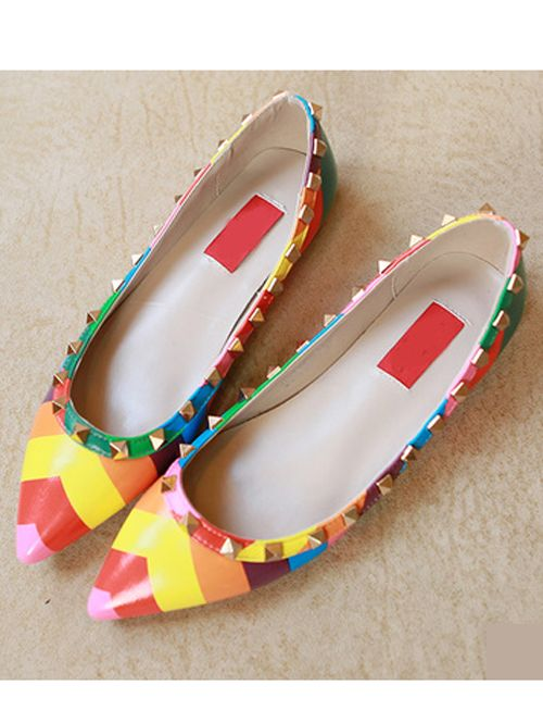 Wholesale Stylish stud contrast color point toe flats shoes YS-C5029 - Lovely Fashion