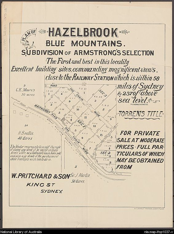 W. Pritchard & Son. Plan of Hazelbrook, Blue Mountains [cartographic material] : subdivision of Armstrong's selection ; for private sale at moderate prices - full particulars of which may be obtained from