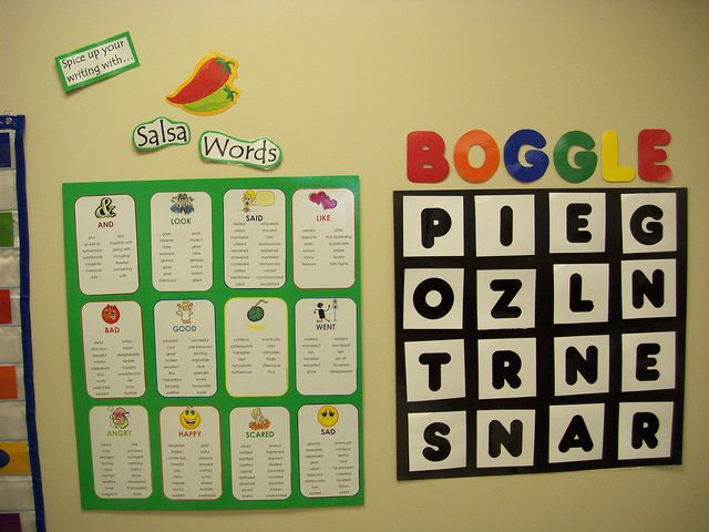 "Synonyms Board (aka the Salsa Board, words to use to ""spice"" things up), and a Boggle Board. I could see using the Boggle Board for kids who finish early and need something to do. All they need to do is flip their paper over and write down the words they can find- maybe even for extra points! Brilliant!"
