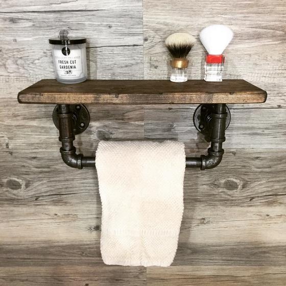 Industrial/Rustic Towel Bar with Shelf