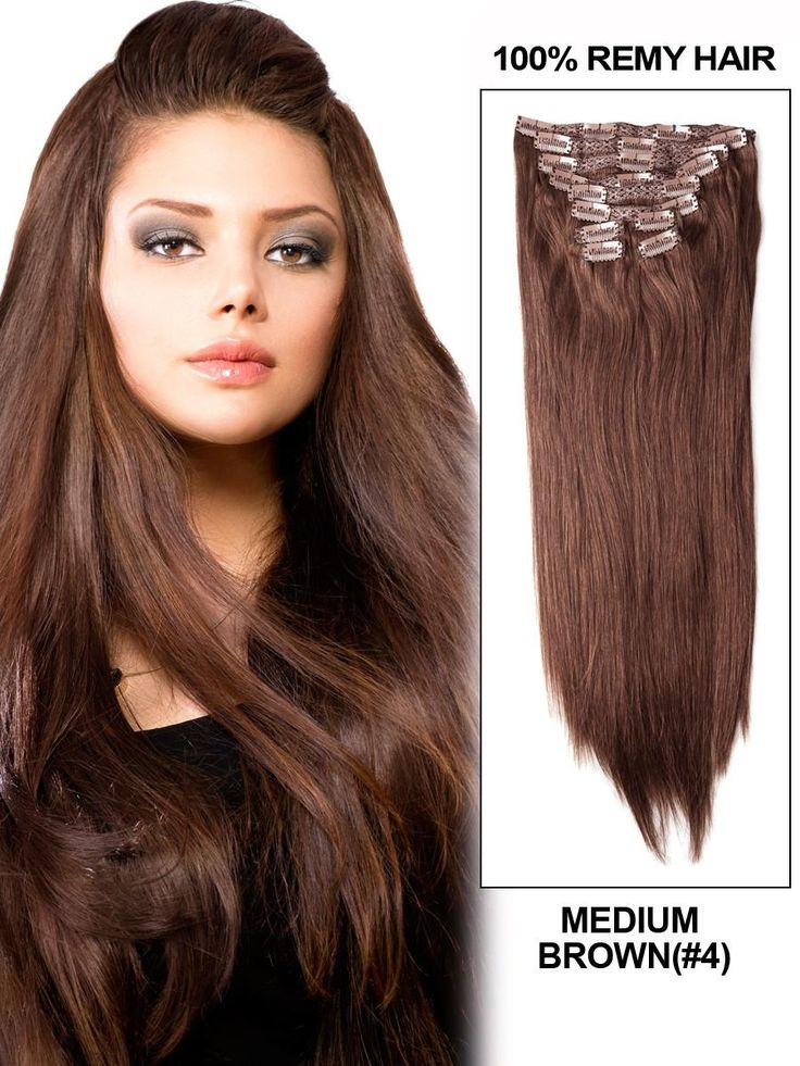 22 best clip in hair extensions images on pinterest hair 16 inch 8pcs straight brazilian clip in remy hair extensions 4 medium brown pmusecretfo Images