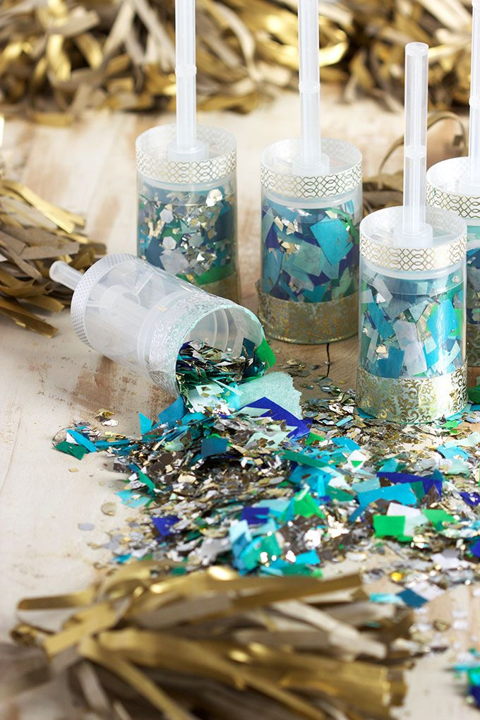 These easy to make DIY Confetti Party Poppers are fabulous for any occasion! New Year's Eve, Weddings, Gender Reveal parties...you name it!  Easy to make and ready in minutes! | @suburbansoapbox