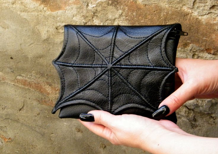 Spider web makeup cosmetic bag for purse, faux leather make up bag, cosmetic  bag, vegan bag, small makeup bag, goth makeup bag, black bag by FiMachine on Etsy https://www.etsy.com/listing/240219176/spider-web-makeup-cosmetic-bag-for-purse