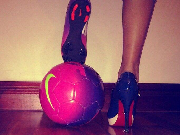 Soccer loving girl. Football, heels, togs