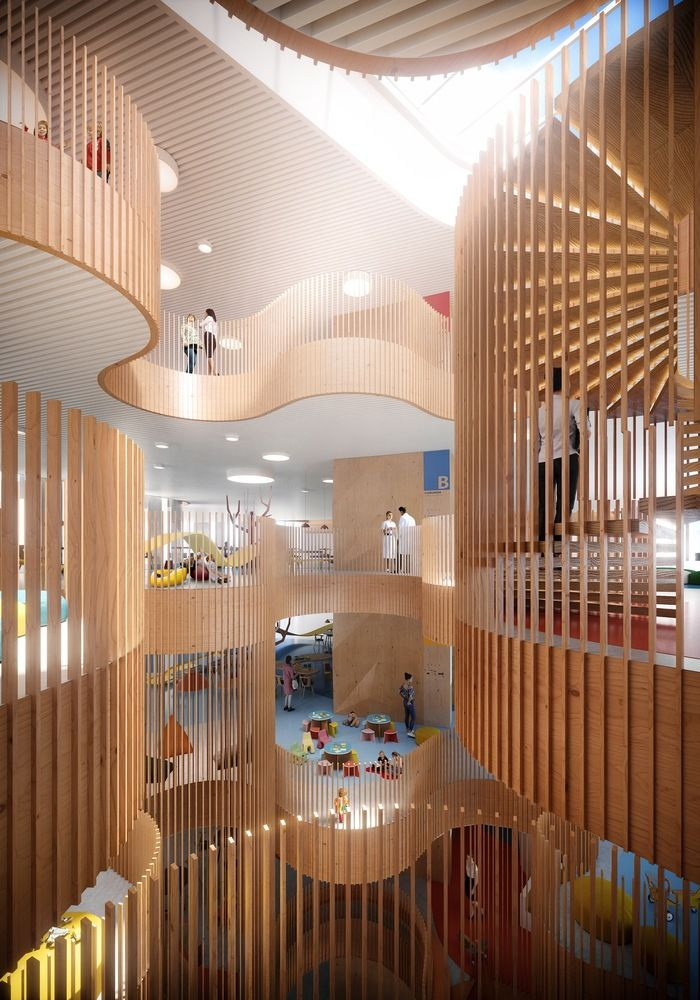 3XN Wins Competition for Copenhagen Children's Hospital with 'Playfully Logical' Design,Atrium. Image Courtesy of 3XN