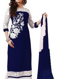 Buy Navy Blue embroidered georgette semi stitched salwar with dupatta party-wear-salwar-kameez online