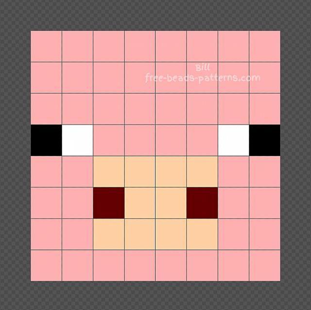 Pig Minecraft Perler Beads design 8x8 | Free Hama Beads