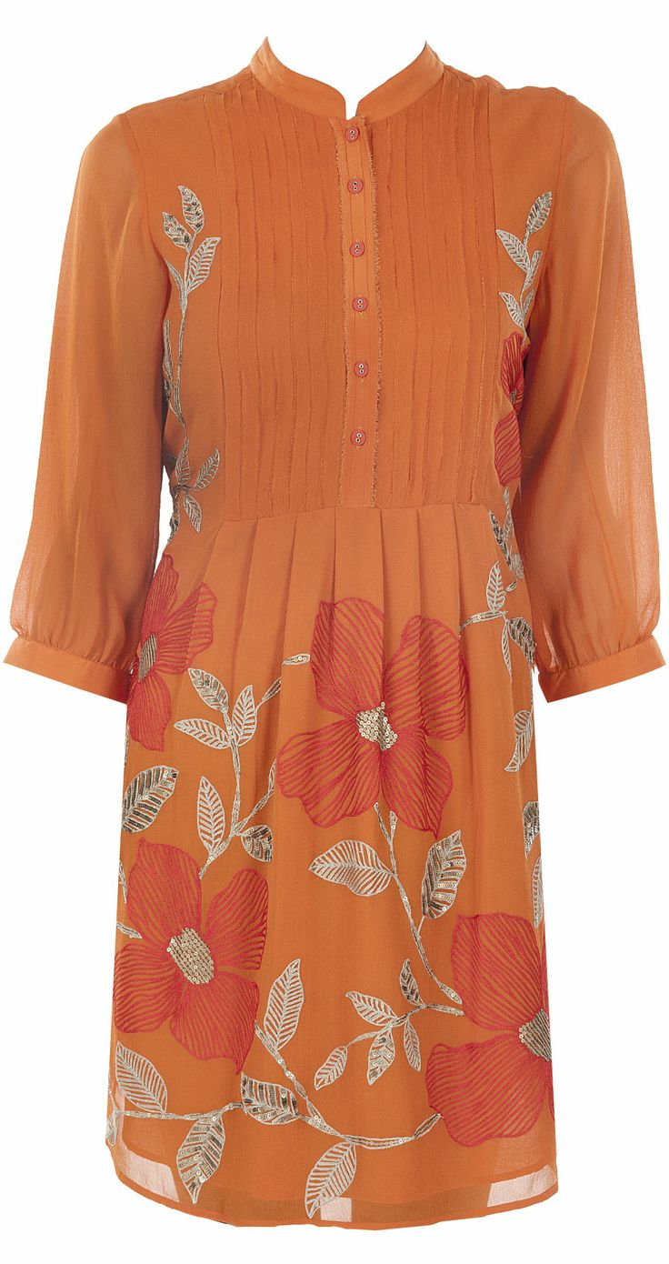 Orange flower tunic by NAMRATA JOSHIPURA.http://www.perniaspopupshop.com/designers-1/namrata-joshipura