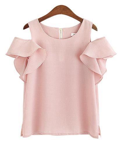 Korean Off Shoulder Chiffon Women's Blouses Shirts Ladies Summer Tops Body Blusas Camisa Feminine Plus Size Clothing CH439