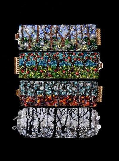 beautiful bead embroidery bracelets by Kinga Nichols . her blog bracelet gallery: http://crimsonfrogdesigns.blogspot.com/p/bracelets.html