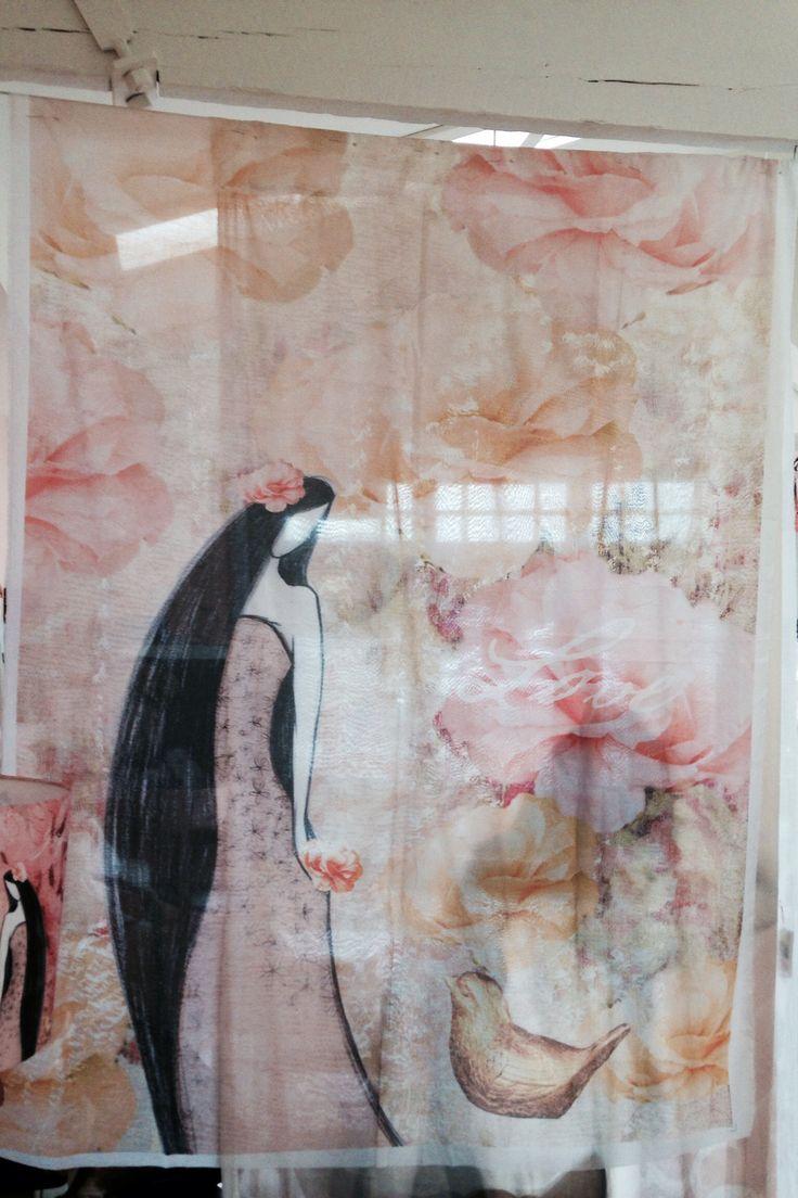 Love and beauty shear curtain