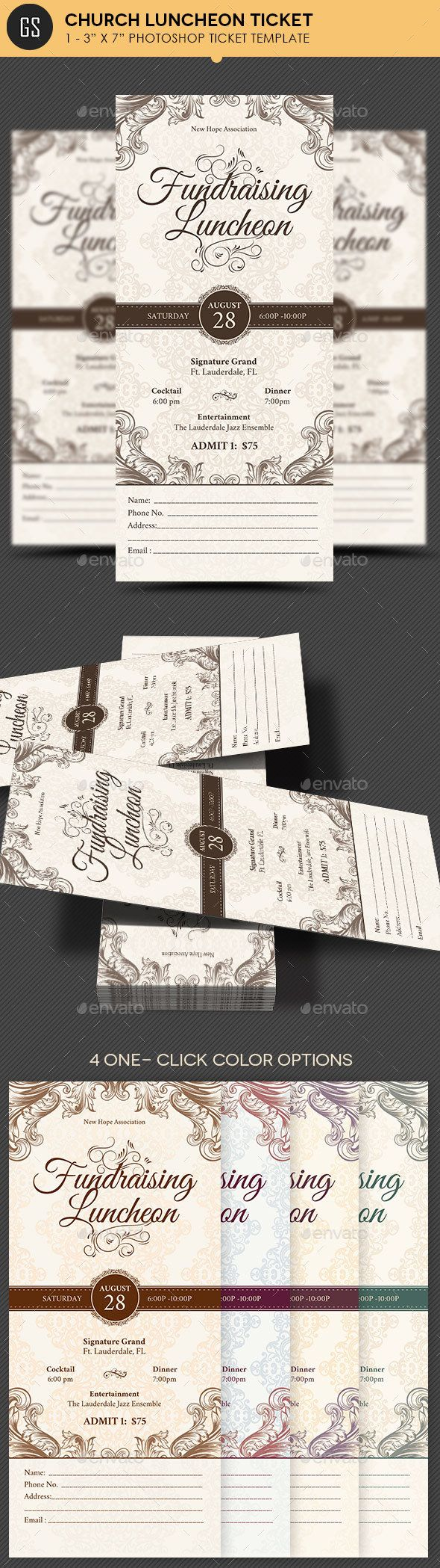 Church Luncheon Ticket Template PSD. Download here: https://graphicriver.net/item/church-luncheon-ticket-template-/17042015?ref=ksioks