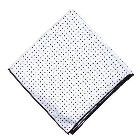 White w/ Black Dots Pocket Square