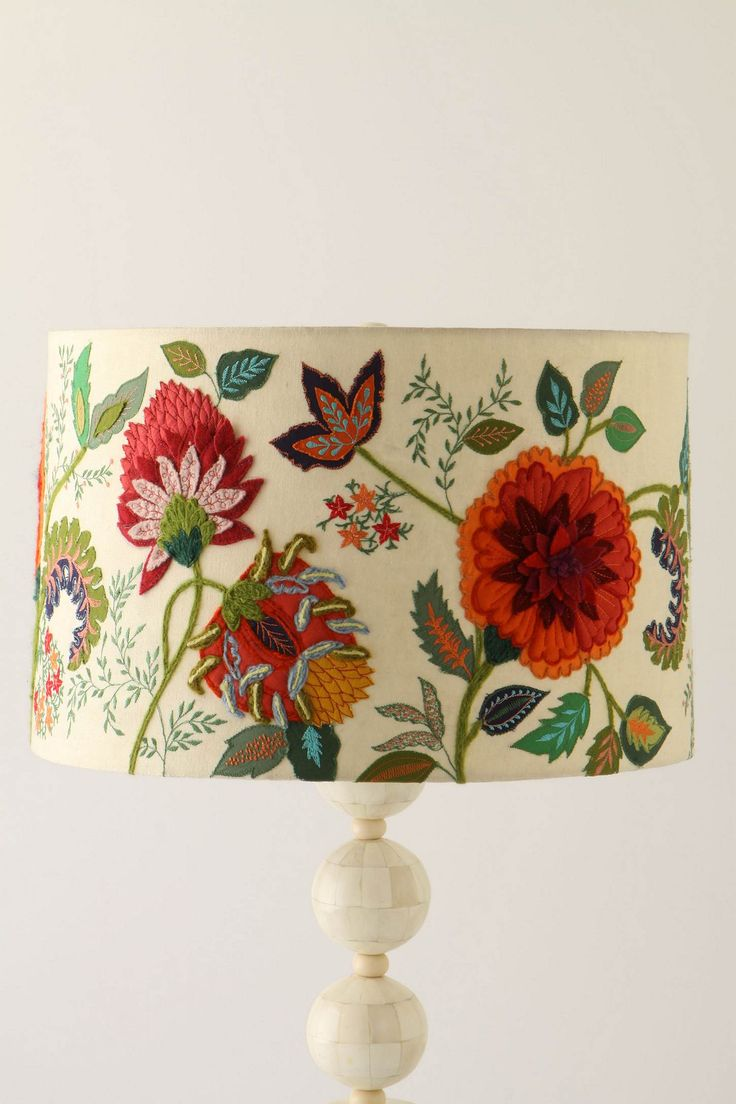 needlework garden shade... has felt pieced flowers, and some cotton piecework, embroidery also