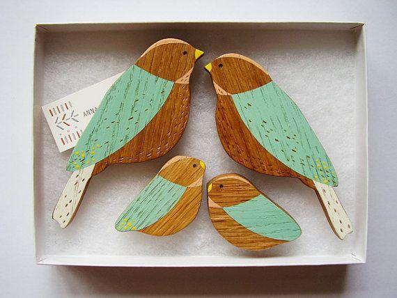 Wooden Wall Bird Family.
