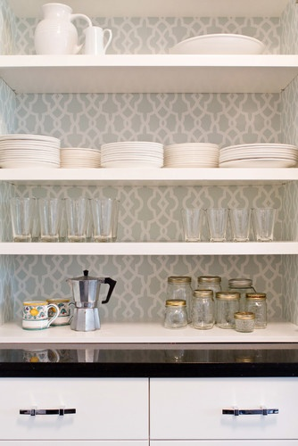 butler's pantry - wallpaper behind shelves