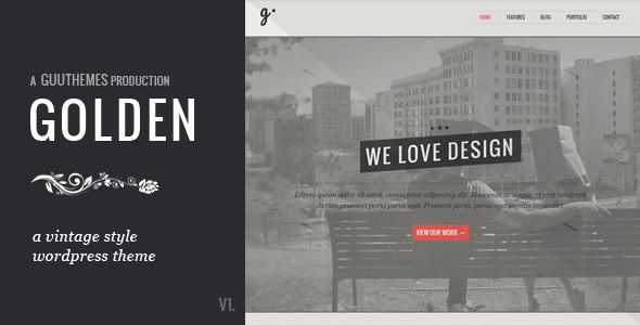 GOLDEN - Responsive Vintage WordPress Theme   http://themeforest.net/item/golden-responsive-vintage-wordpress-theme/3863933?ref=damiamio      Version 1.1 Now Available Overview -  GOLDEN is a beautifully elegant, visually stunning, and multi-functional vintage inspired WordPress theme. Perfect to use, from freelancer to agency, and everything in between. The template is fully responsive, and looks amazing on your Smartphone, Tablet, and Desktop. Beautiful typography, minimal, but elegant…